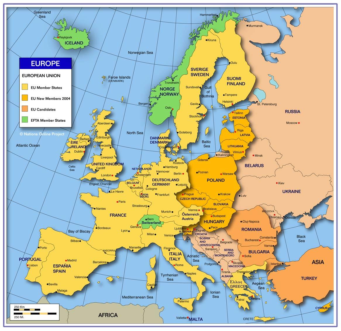 خريطة لأوروبا
